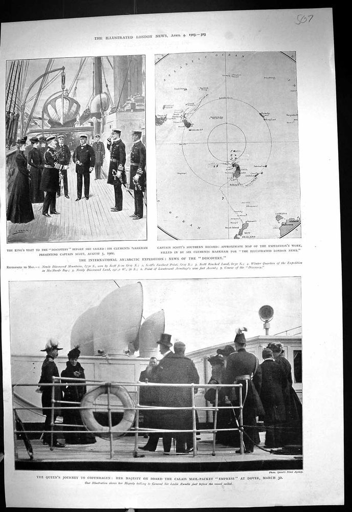 Antique Print of 1903 Antarctic Expedition Discovery Ship Markham Scott Empress