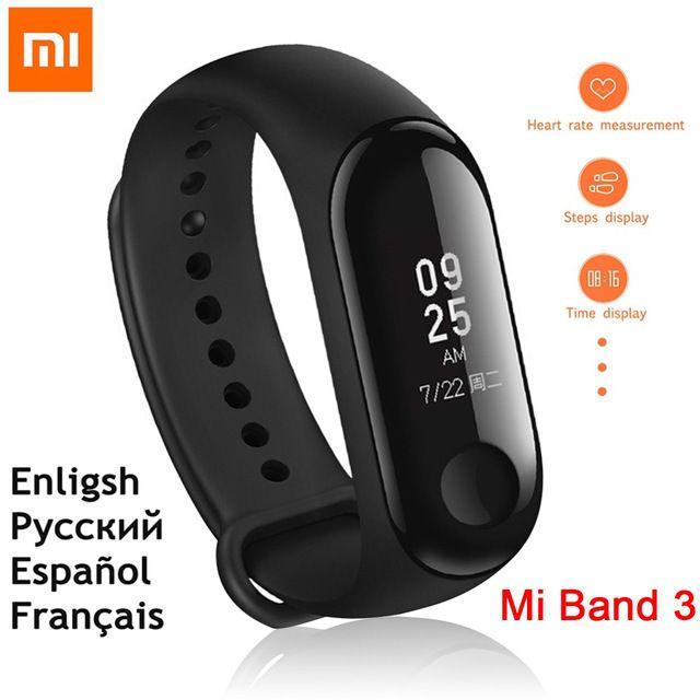 English Version New Original Xiaomi Miband 3 Wristband Mi Band 3 Smart Bracelet Android Tracker Xiao Mi Mi 3 Band Heart Rate Review Smart Bracelet Smart Band Fitness Bracelet