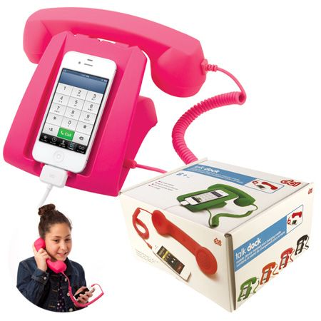 Teens love talking on the phone! Make it fun for them with this old school cell phone hook up! the talk dock connects to almost all smart phones and is a great charging stand!