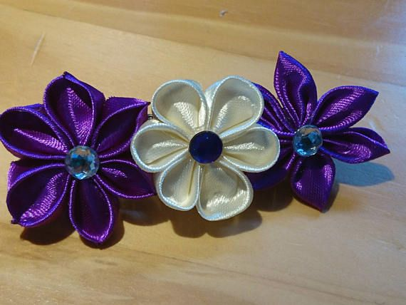 Check out this item in my Etsy shop https://www.etsy.com/listing/522378154/purple-and-ivory-kanzashi-hair-clip