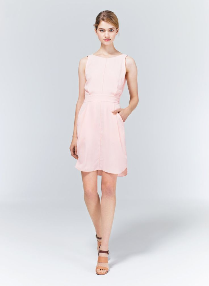 WILFRED LELIA DRESS - Make a bold exit with this scoop-back dress in a uniquely textured fabric from Japan