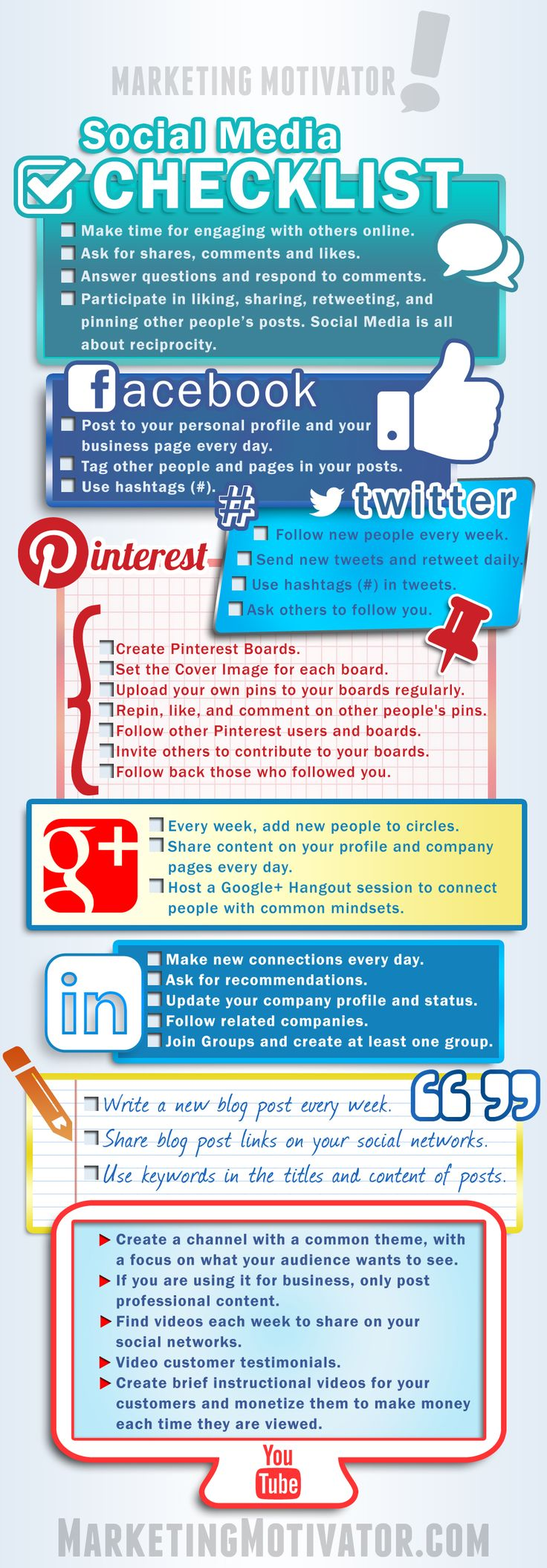 Social Media Checklist http://www.marketingmotivator.info/home/newest-products/21-social-media-checklist