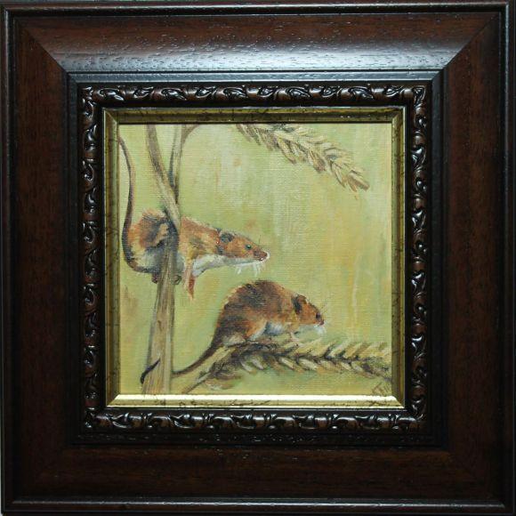 Mice on Barley, Framed Oil Paintings