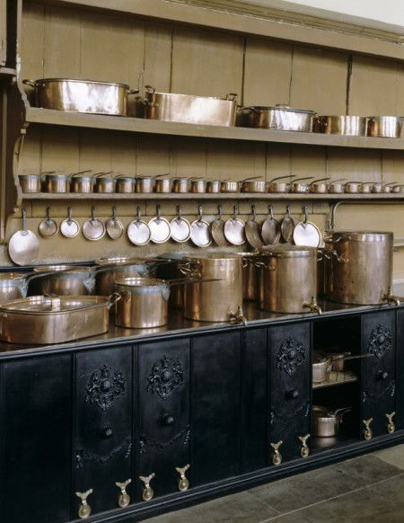 Batterie de Cuisine. The Kitchen  includes a Warming Cupboard with Incredible Sliding Doors. Petworth House, West Sussex, England. Just Look At All That Copper Cookware!!!!