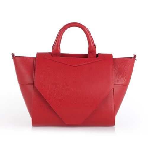 Structured Tote in Red Leather by Bracher Emden