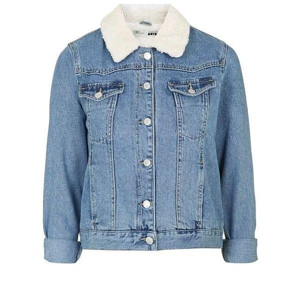 PETITE Borg Denim Jacket ($91) ❤ liked on Polyvore featuring outerwear, jackets, blue jackets, petite jackets, blue denim jacket, petite jean jacket and denim jacket