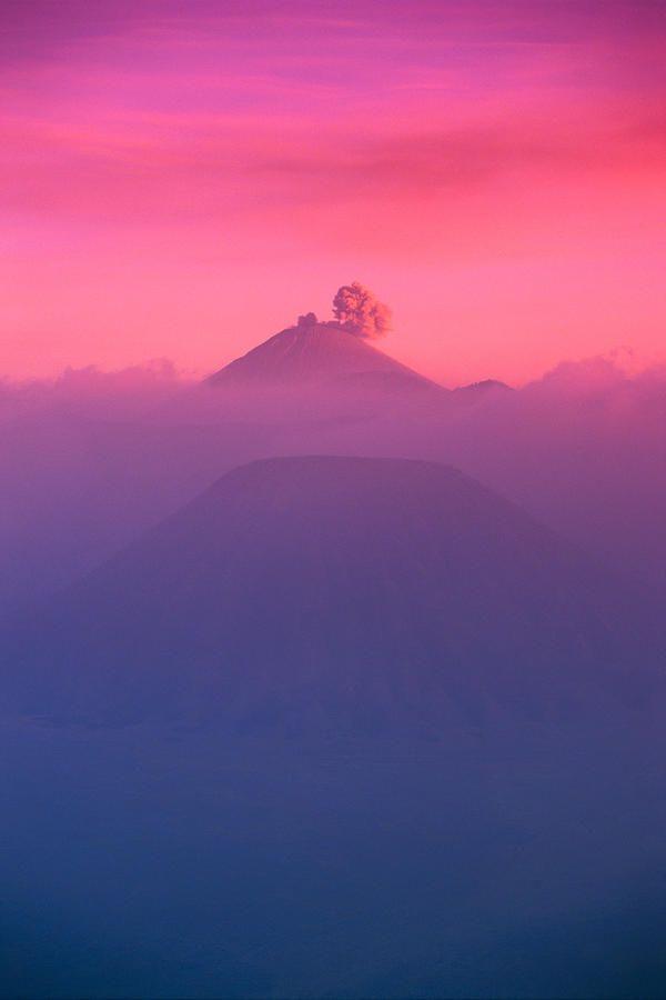 Overview of Bromo Tengger Semeru national park at sunset, Indonesia, by Gloria & Richard Maschmeyer.