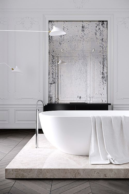 =Elevated bath + vintage mirror | Parisian Apartment| by Jessica Vedel
