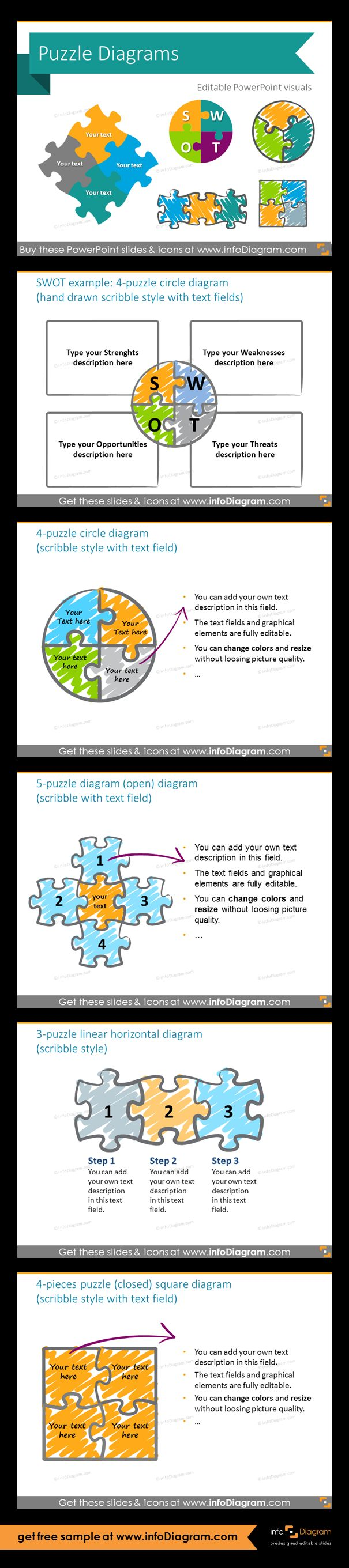 Jigsaw Puzzle collection for integrity diagrams - set of editable graphical elements for PowerPoint. Fully adaptable vector shapes. SWOT diagram as 4-puzzle circle diagram (in scribble style with text field); 4-pieces circle diagram example; 5-puzzle open diagram; 3-puzzle linear horizontal diagram; 4-pieces closed square chart.