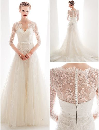 Wedding Dress A Line Court Train Lace And Tulle Queen Anne Neckline Bridal Gown With Sash -