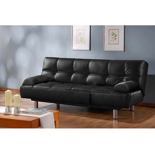 Atherton Home Manhattan Convertible Futon Sofa Bed and Lounger, Black Faux Leather $299  76x37x37 sofa no bed width given