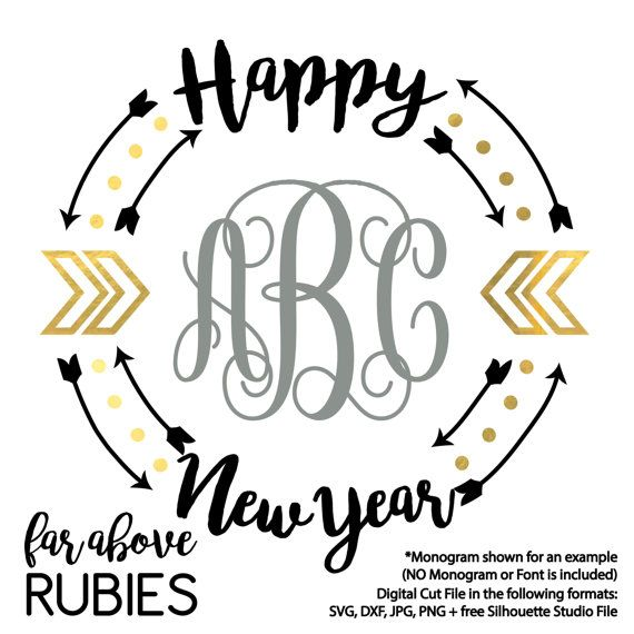 Happy New Year Monogram Wreath Chevron Arrows (monogram NOT included) - SVG, DXF, png, jpg digital cut file for Silhouette or Cricut