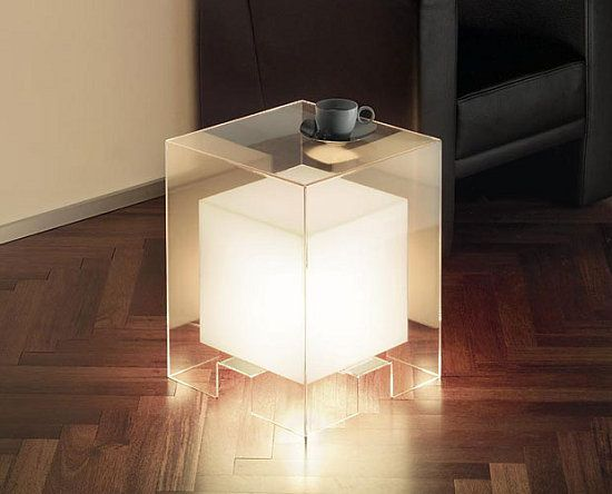 Lamp side table // acrylic box over table cube light