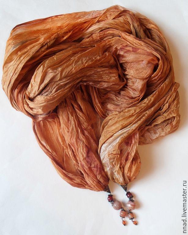 """Купить Батик палантин шелковый серии """"Арабские ночи. Сердоликовая-2"""" - коричневый, сердолик натуральный"""
