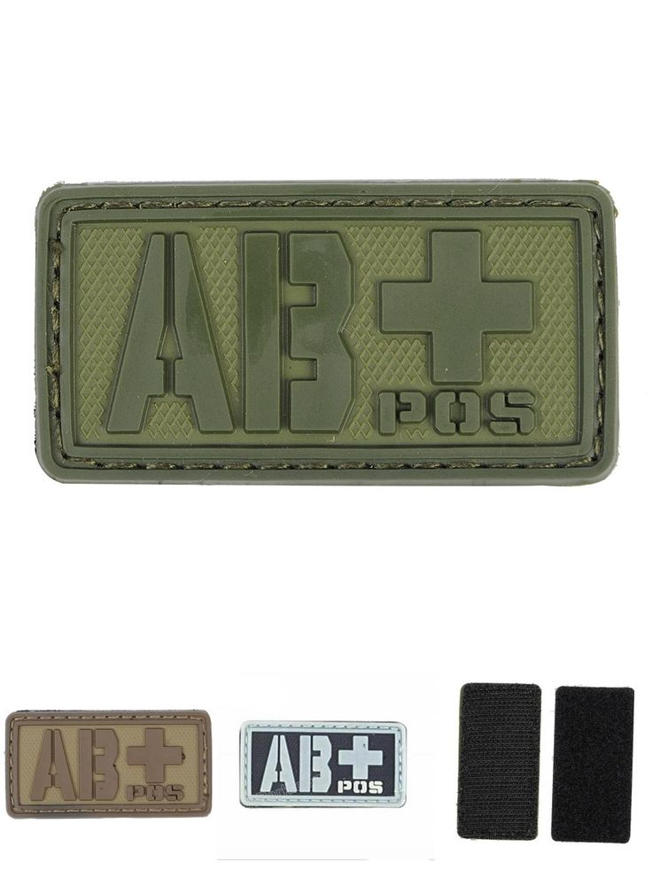 [Visit to Buy] 3D PVC Patches ABPOS Blood Type Rubber Badge w/ Sticky Back Military Armband Hook Backside Tactical Group Uniform Patch #Advertisement