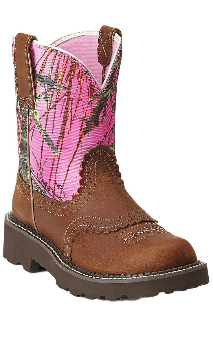 Ariat® Fatbaby™ Women's Tanned Copper with Pink Camo Top Boots