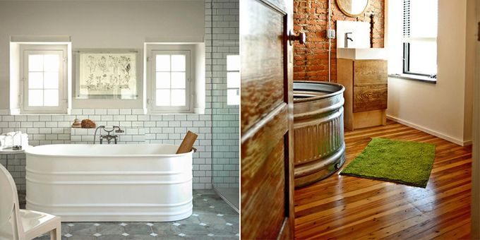 If you love a rustic or country style, this new trend might be for you. Using this farm accessory, the stock tank bathtub is all the rage in rustic-chic homes.     You can find stock tanks and galvanized tubs at local feed stores, at farm sales, on Kijiji, and even on Amazon for a decent price. They come in a variety of sizes and shapes and will add a unique design touch to any bathroom remodel.