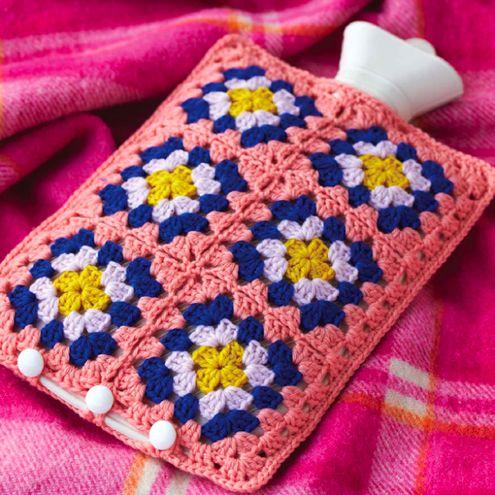 Crochet Granny Square Hot Water Bottle Cover Pattern : 90 best crochet hot water bottle cover images on ...