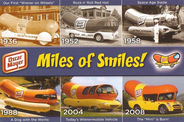 Oscar Mayer Wienermobiles Postcard 1, via Flickr.