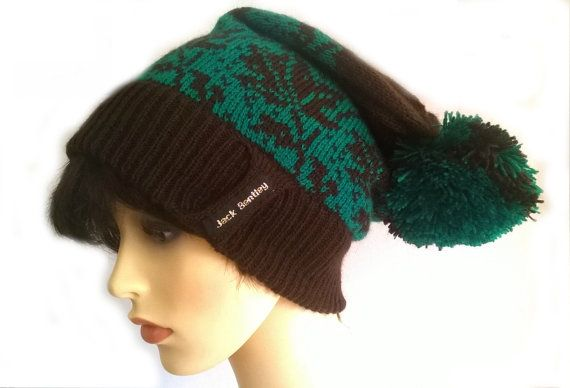 Slouch beanie in Deep Green and Dark Brown leaves on hat with large pompom  Acrylic  handwash  please note, due to the construction on this