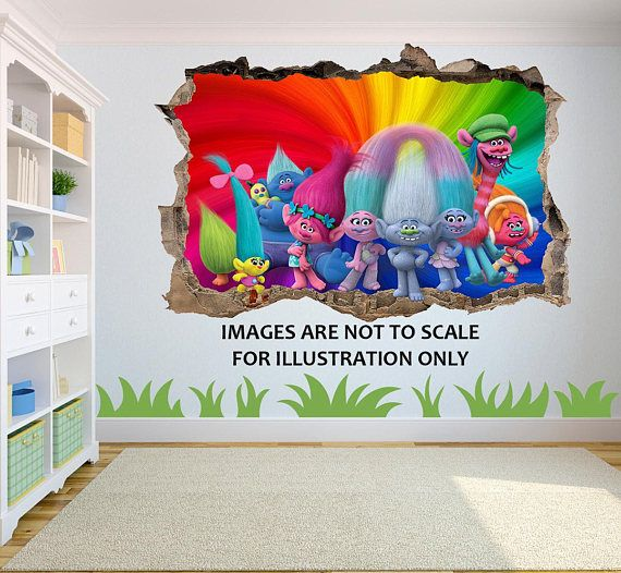 Trolls 3D Effect Graphic Wall Vinyl Sticker Decal