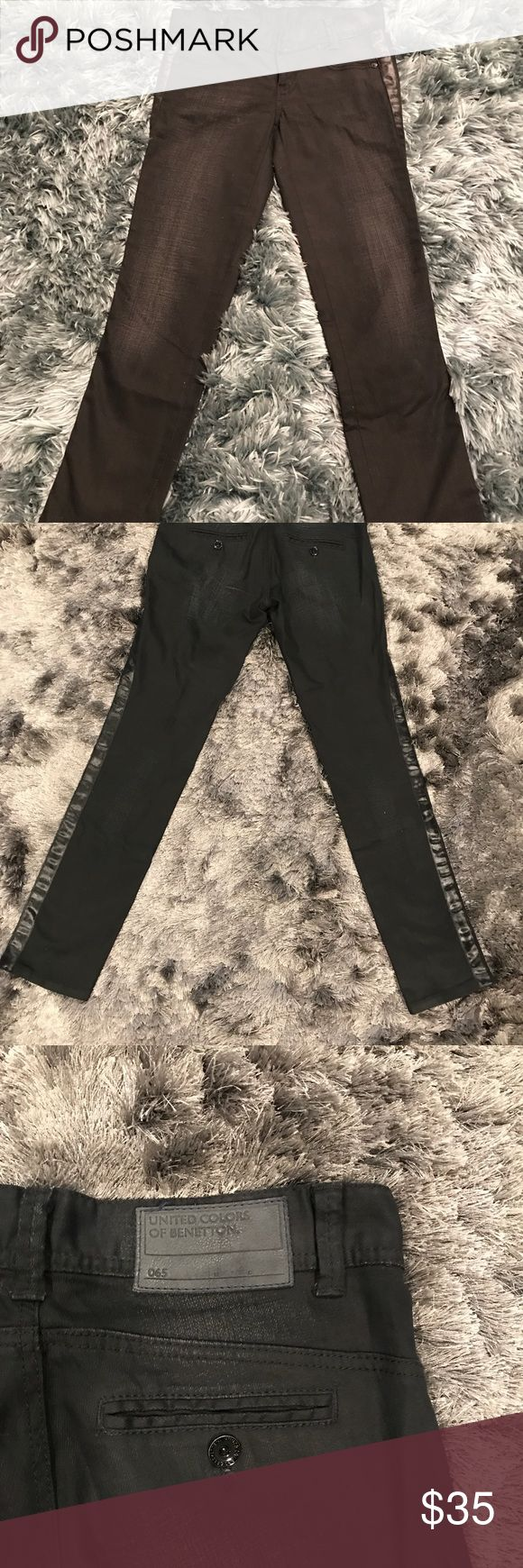 """United Colors of Benetton Tuxedo Skinny Jeans NWOT United Colors of Benetton black satin tuxedo skinny jean.  Would look very elegant with cropped blazer and heels! Details : Size 40/6 Waist 15.5"""" Outseam 37.5 Inseam 29.5"""" Rise  7"""" Ankle 6"""" United Colors Of Benetton Jeans Skinny"""