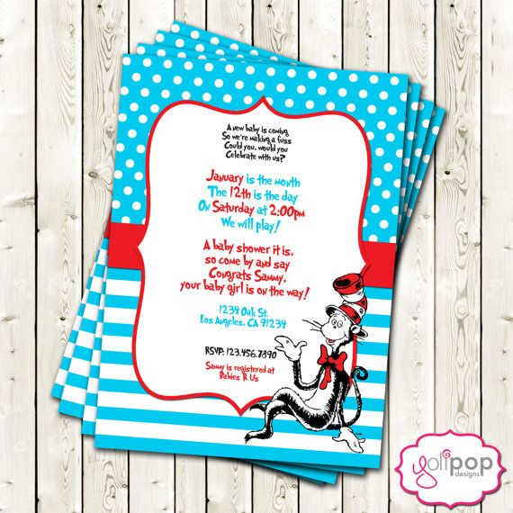 Custom Dr. Seuss Themed (printable Digital) Baby Shower