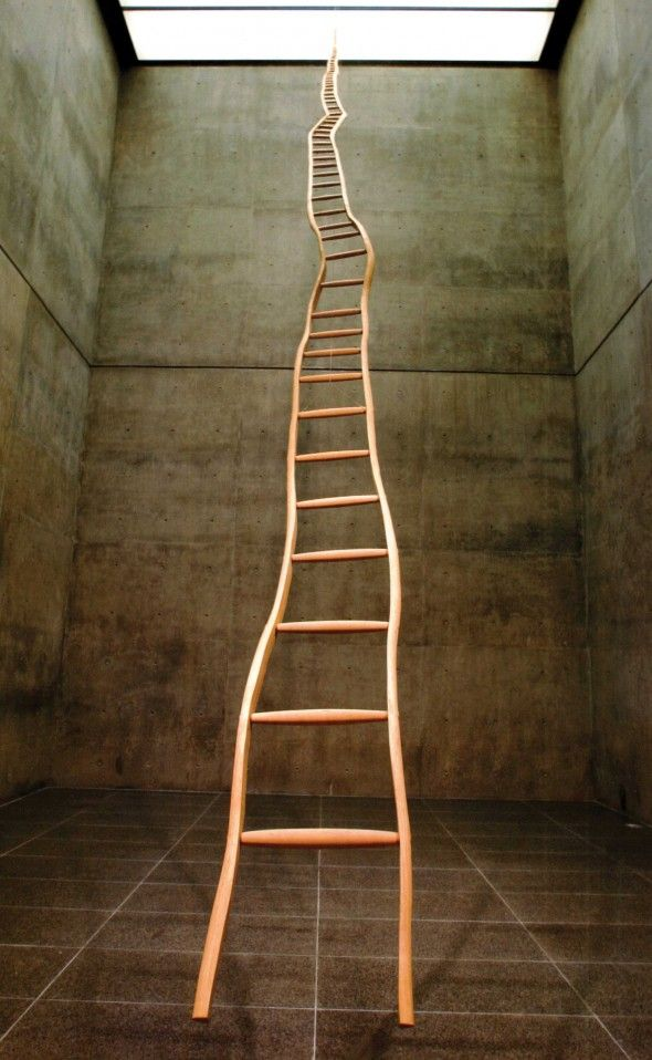 """Martin Puryear, Ladder for Booker T. Washington, 1996  Ash and maple, 36' x 22 ¾"""" x 3"""" width narrows to 1 ¼"""" at the top  Modern Art Museum of Fort Worth. Gift of Ruth Carter Stevenson, by exchange  © 2007 Martin Puryear. Photo by David Wharton"""