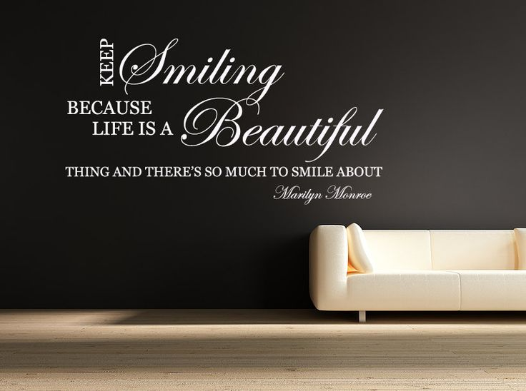 Marilyn Monroe Quote Wall Art Sticker Home Interior Design Idea Smiling Life Is Beautiful