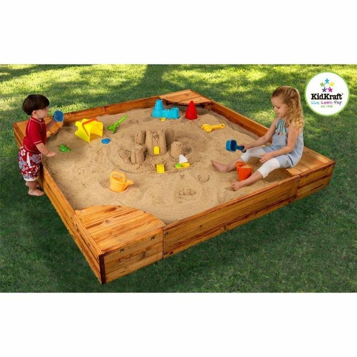 NEW KidKraft Wooden Back Yard Sandbox W/ Cover Kids