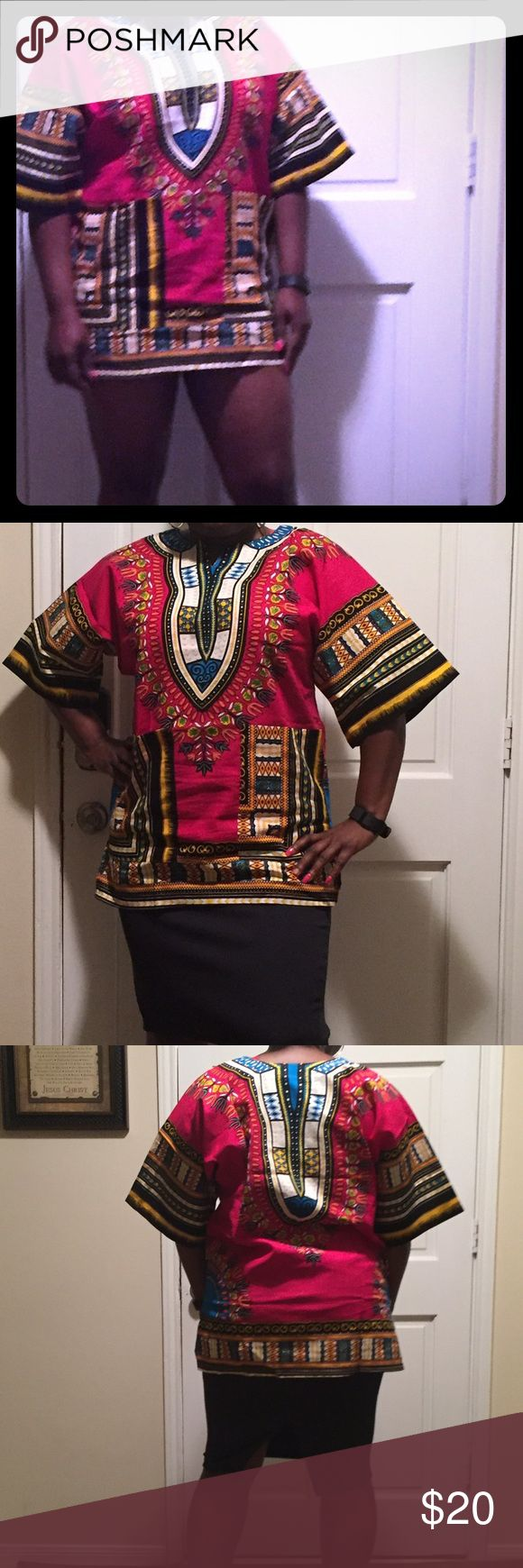 Dashiki adults size. Pink Dashiki adult size one size fit all Tops