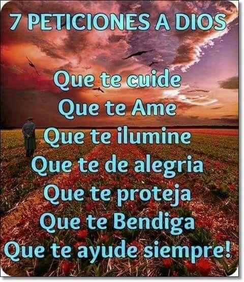 Siete peticiones que le pedi a Dios Qué te cuide  Que te amé  Que te ilumine  Que te dé alegría  Que te proteja  Que te bendiga Que te ayude siempre!!