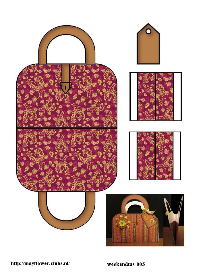 Printable Burgundy & Gold Pattern Suitcase