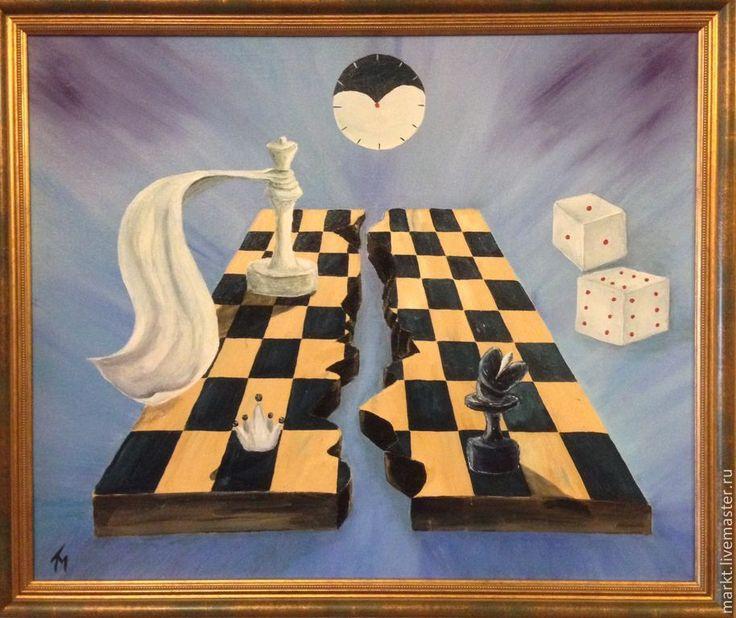Купить Партия. Холст, масло. Картина в раме. (продано) - шахматы, шахматная доска, абстракция, абстракционизм