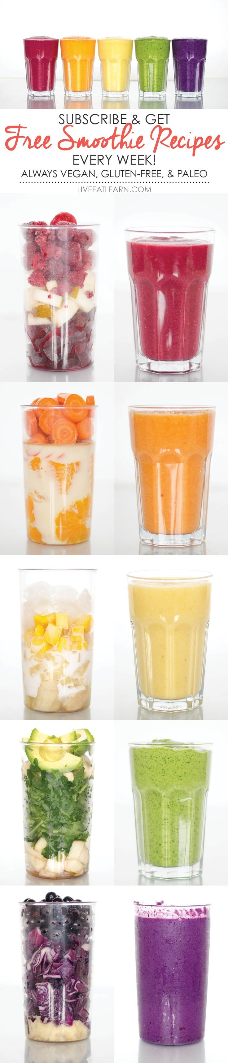 Healthy smoothie recipes to give you the boost of energy you need on Monday morning, delivered right to your inbox each week! Perfect as a quick, on the go meal, for breakfast, and for the whole family. Always compatible with a vegan, vegetarian, paleo, gluten-free, and whole foods diet. // Live Eat Learn