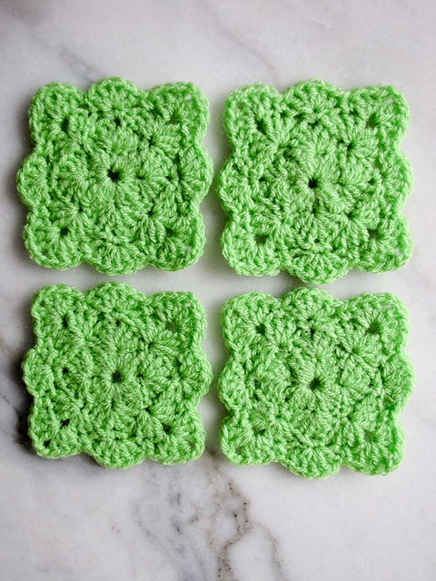 Square Shell Coasters By Gaby V Free Crochet Pattern