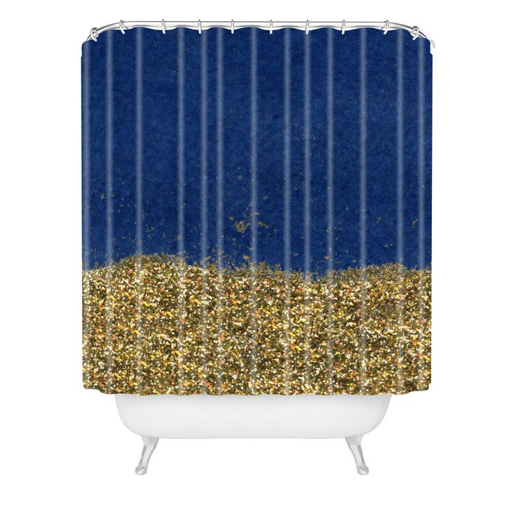 Social Proper Dipped in Gold Navy Shower Curtain | DENY Designs Home Accessories
