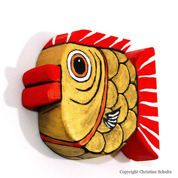 Red And Gold Painted Wood Fish Art Wall Hanging by TaylorArts, $60.00