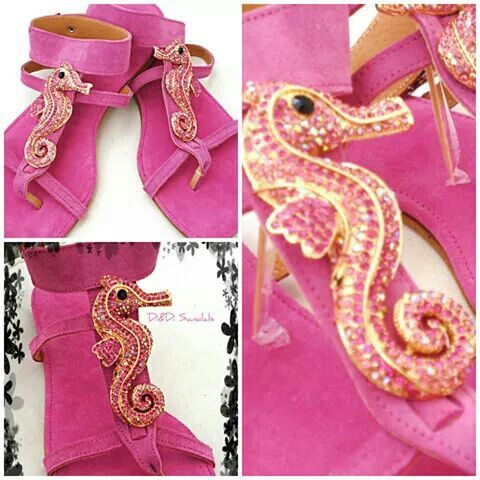 Suede sandal with rhinestone sea horse embellishment
