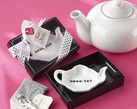 "It's ""tea"" for two from this day forward!! Ceramic Tea-Bag Caddy in Black & White Serving-Tray, http://www.firstavenueweddingfavors.com/luxury-wedding-favors/ #weddingvows"