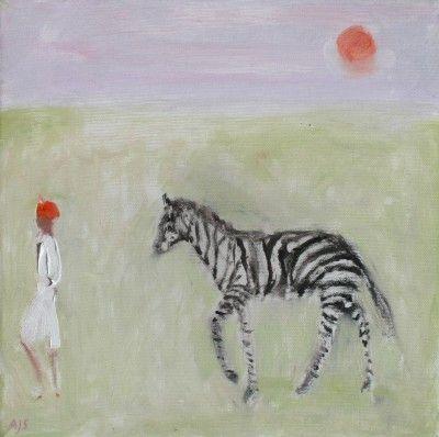 Ann Shrager - Zebra, Boy and Sky