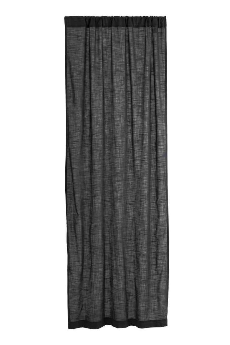Slub-textured curtain length - Anthracite grey - Home All | H&M GB 1