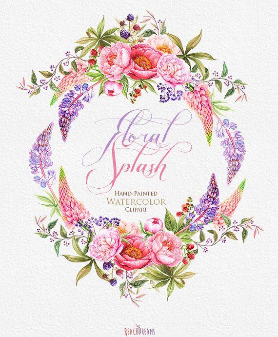 Wedding Invitation. Stylish Watercolor Wreath & от ReachDreams
