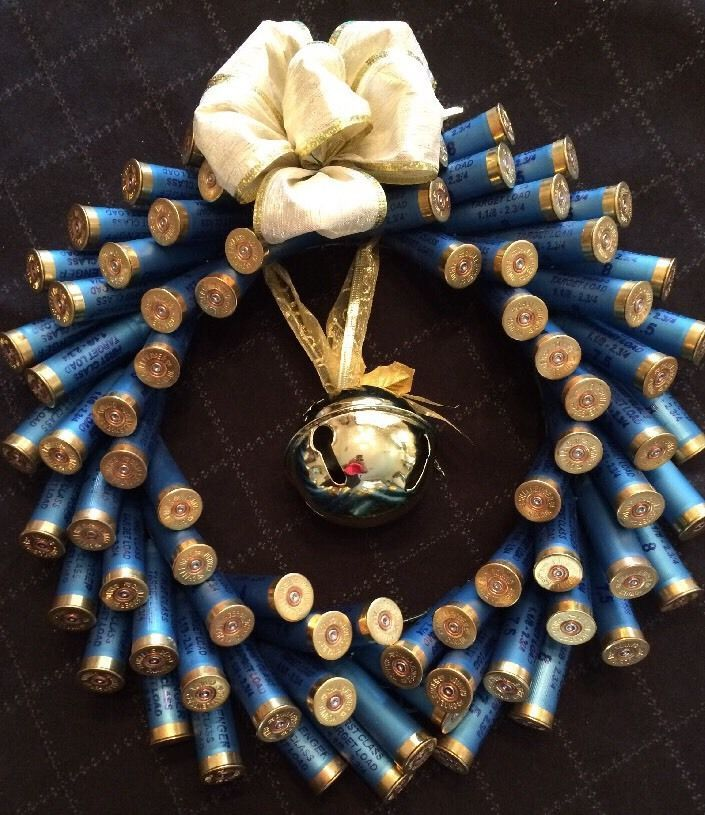 Shotgun Shell Wreath W/12 Ga Blue Shells W/ Brass Heads & Large Jingle Bell  | eBay