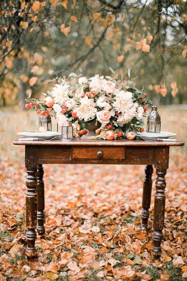 Fall wedding floral centerpiece with autumn colors / Anastasiya Belik Photography