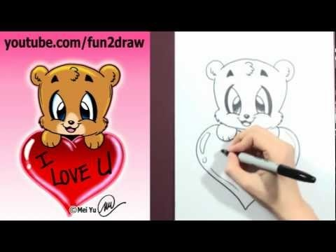 how to draw a valentine bear