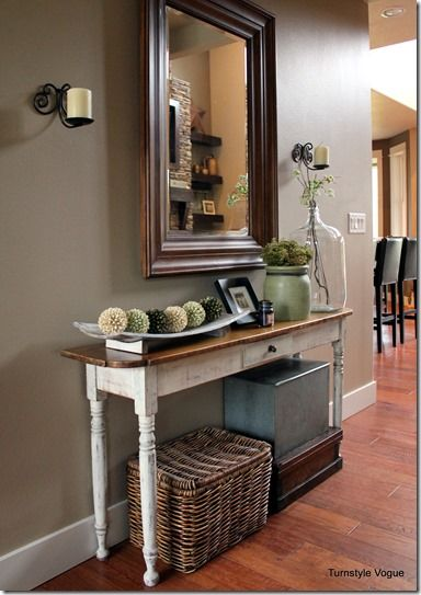 Great Front Entry Way Idea.mirror And Narrow Table Wall Color