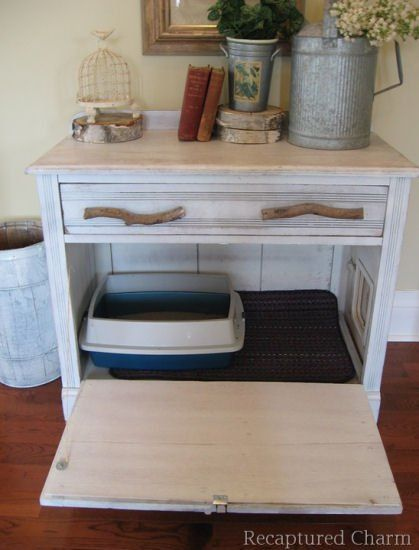 Repurposed dresser:  Dresser turned into cat litter box container, from Repurposed Charm blog #ThisIsAnewOne