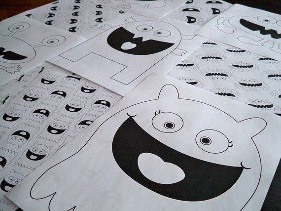Printable Monster Coloring Pages by amillionideas on Etsy