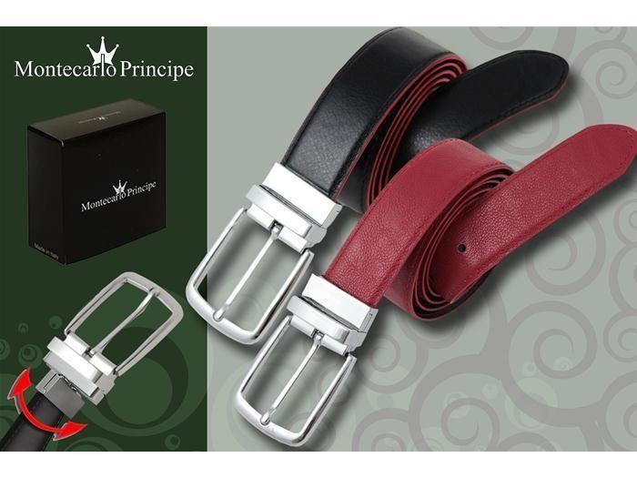 *PL* Cintura uomo classica reversibile Montecarlo Principe 14042 nero rossa AZ21